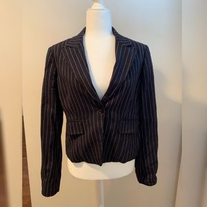 Club Monaco wool navy pinstriped blazer. Size 12